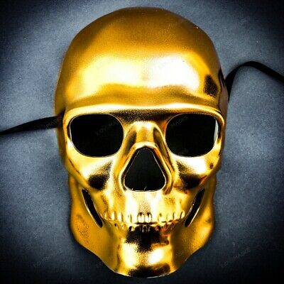 Halloween Full Face Golden Skull Mask For Cosplay Costume Masquerade Mask Party - Halloween Full Costumes