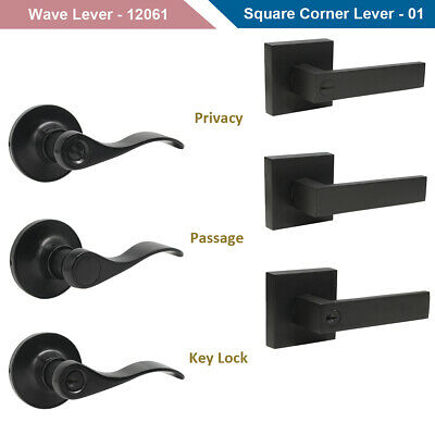 Black Door Handle Lever Knob Door Lock Keyed Entry Privacy Passage Dummy