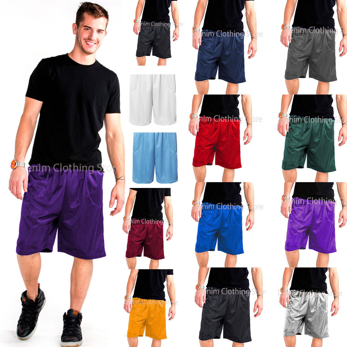 MENS ATHLETIC JERSEY 2 POCKET MESH SHORTS GYM WORKOUT BASKET
