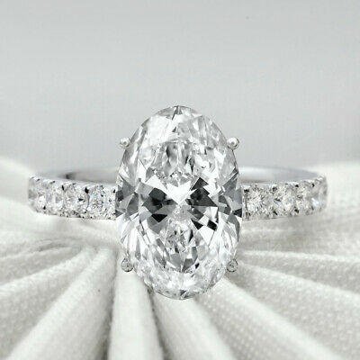 Natural 4.00 ct Oval Cut Pave U-Setting Diamond Engagement Ring  G SI1  GIA  14k 1