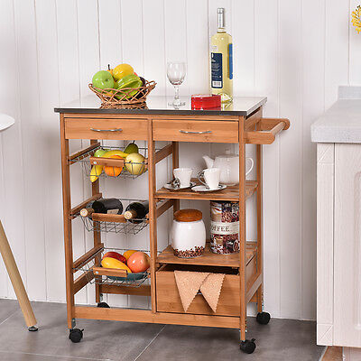 Kitchen Island Shelves - Bamboo Rolling Kitchen Island Trolley Cart Storage Shelf Drawers Basket Dining