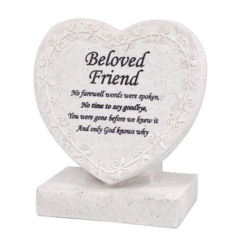 Beloved Friend Heart Shaped Memorial Grave Plaque Cremation Marker