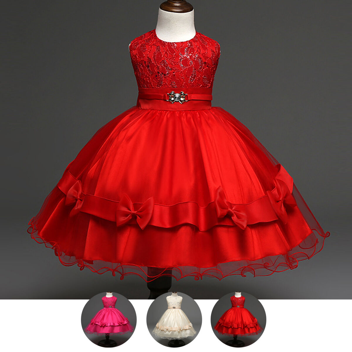 Pageant Flower Girl Kid Dress Toddler Wedding Bridesmaid Tutu Bows Gown For 2-5Y