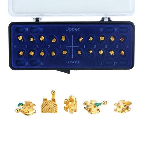 Dental Orthodontic Metal Brackets Braces 24k Gold Plated Roth.022 3 4 5hook Mini