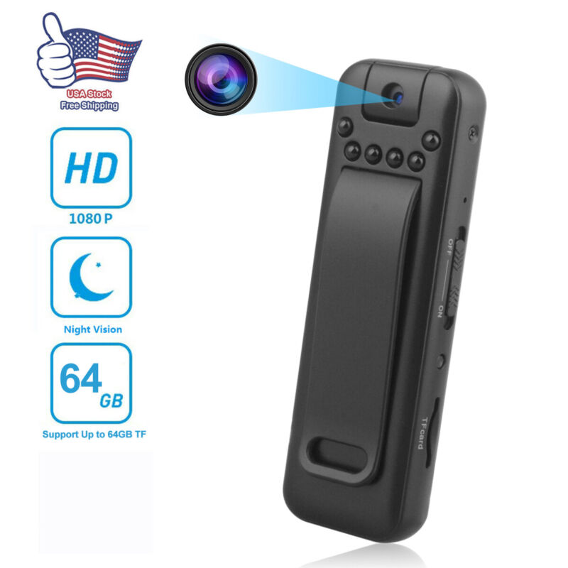 HD 1080P USB Mini Hidden Camera Video Recorder Night Vision Back Clip Body Cam