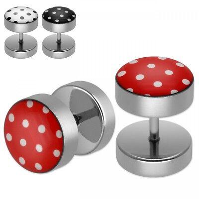 Fakeplugs Ohrstecker mit Pünktchen rot schwarz weiß Punkte Polka Dots  ()