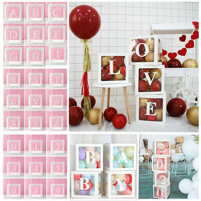Letter A-Z Cube Transparent Gift Boxes Kid Birthday Baby Shower Party -