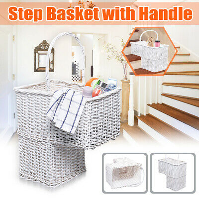 40x20x42cm Wicker Stair Step Basket Box Storage Container Handwoven with Handle Stair Step Basket