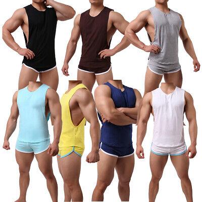 Mens Sport Running Shorts Sleeveless Vest Tank Top Boxer Briefs Running Short