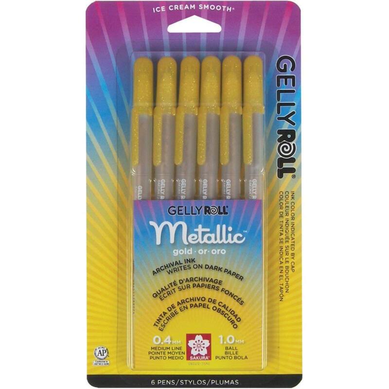 Sakura 57383 Gelly Roll Metallic Gold 6 Bold Pens Archival Ink NEW!