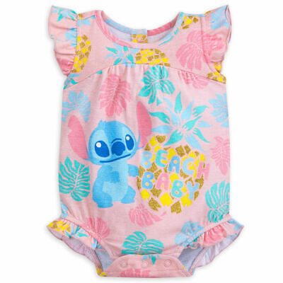Disney Store Lilo & Stitch Beach Baby Bodysuit Pink Glitter Ruffles Outfit - Lilo Outfit