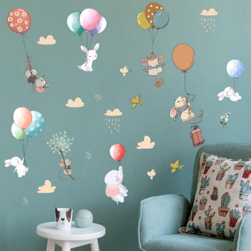 Cartoon Animals Elephant Balloon Wall Sticker Baby Nursery Room Art Decal Gift