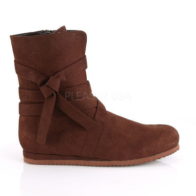 Brown Scottish Groomsmen Medieval Peasant Low Costume Boots Shoes Mens size 9 10 - Medieval Peasant Shoes
