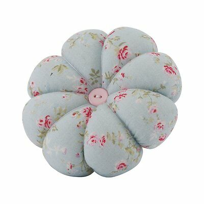 Neoviva Handy Pumpkin Pin Cushion with Wrist Band for Needlework, Floral Blue Oc