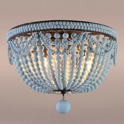 Retro Distressed Blue Wood Bead Flush Mount Lighting Ceiling