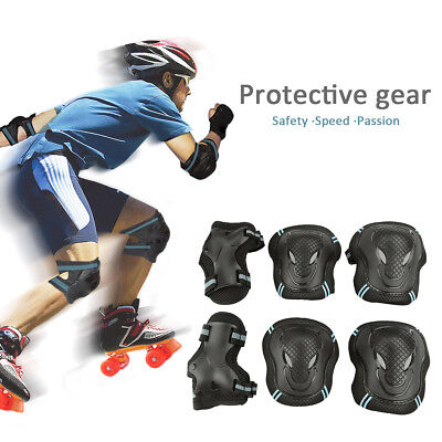 6PCS Roller Skating Skateboard Knee Elbow Wrist Protective Guard Pads Gear S-L