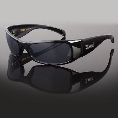LOCS Rectangular Gangster Black Shades Mens Designer Sunglasses Cholo Dark Lens (Gangster Black)