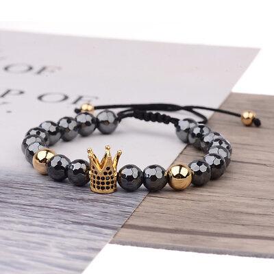 CZ King Crown Natural Stone Women Men's Adjustable Bracelets Charm Jewelry Gift