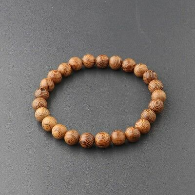 Men Women 8MM Multilayer Wooden Beaded Bracelet Jewelry Stretch Couples Bangle  - Wooden Bangles