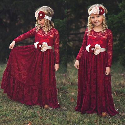 Mädchen Langarm Spitzenkleid für Hochzeit Brautjungfer Party Festlich Ballkleid