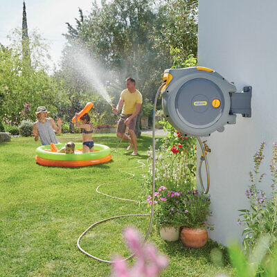 Hozelock Auto-Reel 30m Hose Wall-Mounted Automatic Rewind Garden Watering System