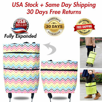 Folding Shopping Cart Utility Trolley Portable For Grocery Laundry Travel Wheels