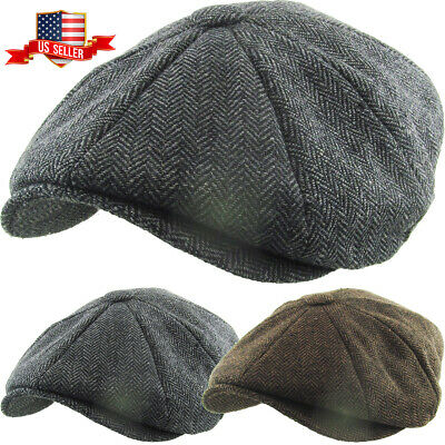 Herringbone Applejack Wool Blend Newsboy Gatsby Ivy Hat Golf Driver Ascot