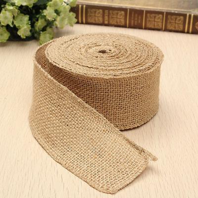 50mm Natural Jute Hessian Burlap Ribbon Roll Vintage Wedding Party Decor Craft