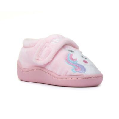 Girls Pink Unicorn Slippers Easy Fasten Childrens Novelty Character Slipper
