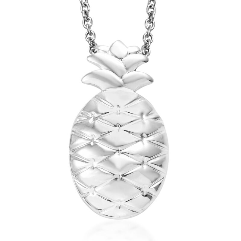 """925 Sterling Silver Pineapple Women Pendant With Stainless Steel Chain Size 20"""""""