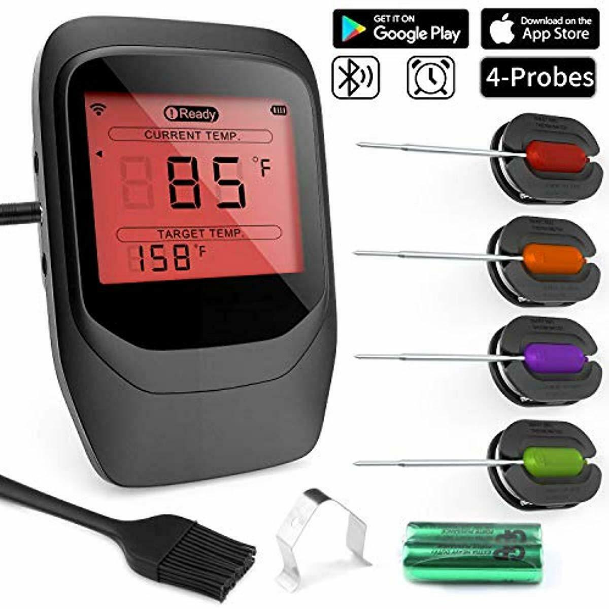 Digital Fleischthermometer Grillthermometer BBQ Bratenthermometer Funk Grill App
