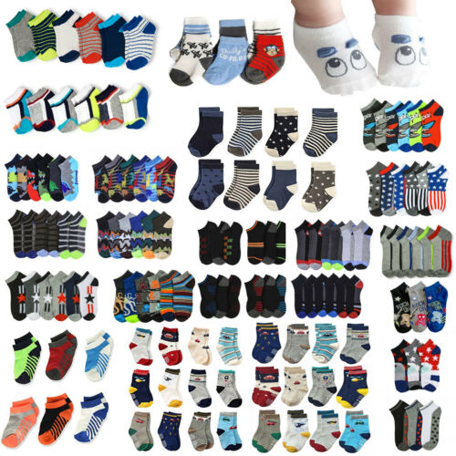 Lot 12 Pair Newborn Infant Baby BOY Socks Cotton Spandex  Ankle Crew 0-12 Months