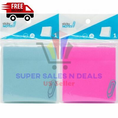 Sticky Notes Blue Pink Memo Post Sticker 100 Sheets 3 Pad Bookmark Office Paper
