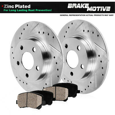 REAR Drill & Slot BRAKE ROTORS & CERAMIC Pads For Acura ILX Honda Civic Prelude
