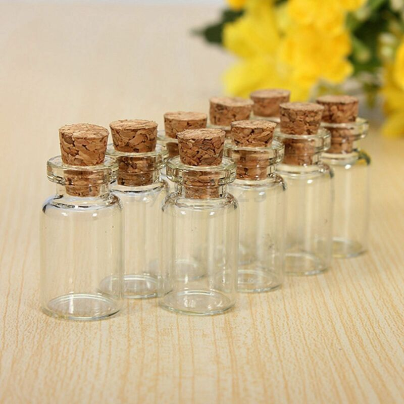10 PC Cute Mini Small Cork Stopper Glass Vial Jars Containers Bottle BN