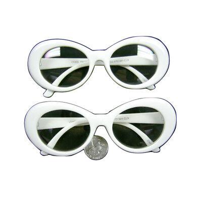 Kurt Cobain White Clear Lens Sunglasses Nirvana Jackie O Onassis Kennedy (Jackie O Sunglasses White)