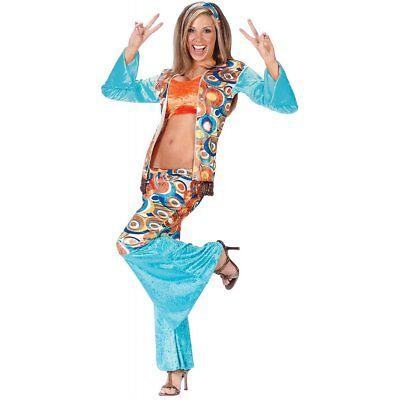 Womens Hippie Chic Hippy Retro Groovy Fancy Dress Costume 1960s 1970s Ladies - Hippie Chic Kostüm