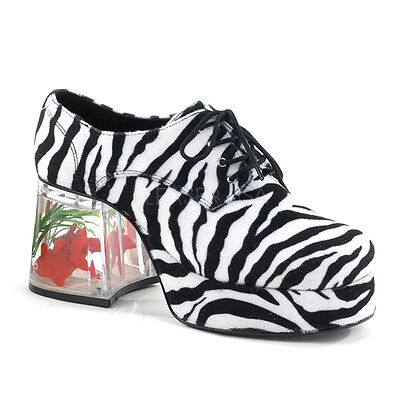 Men's Faux Zebra Fur Goldfish Heel Retro Disco Pimp Halloween Costume Shoes - Disco Shoes For Men