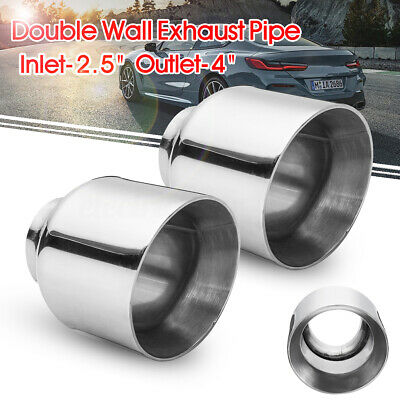 2x 2.5'' Inlet 4'' Outlet Stainless Exhaust Muffler Tip Pipe Double Round Slant