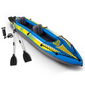 Goplus 2-Person Inflatable Canoe Boat Kayak Set W/ Aluminum Alloy Oar Hand Pump