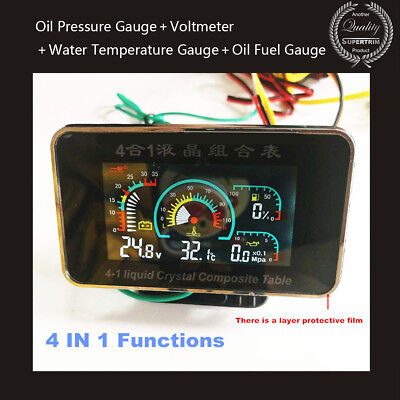 - 4IN1 LCD Car Oil Pressure Gauge+Voltmeter+Water Temperature Gauge+Oil Fuel Gauge