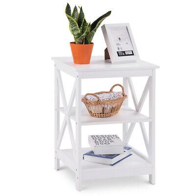Living Room Nightstand (3-Tier Nightstand End Table Storage Display Shelf Living Room Furni White)