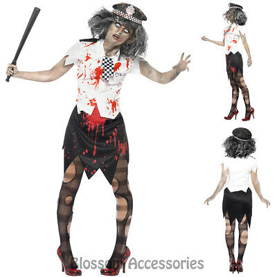 CL570 Ladies Zombie Policewoman Police Cops Halloween Fancy Dress Horror Costume