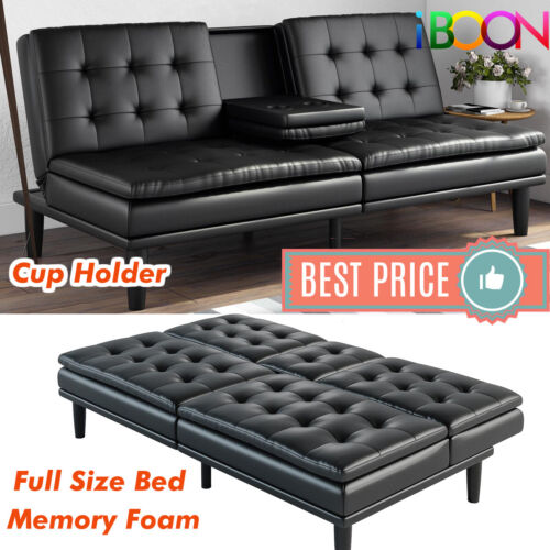 Memory Foam Sofa Bed Couch Convertible Futon Leather Cup Holder Pillow Top Black