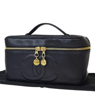 Auth CHANEL CC Vanity Cosmetics Hand Bag Caviar Leather Black Vintage 70EX131