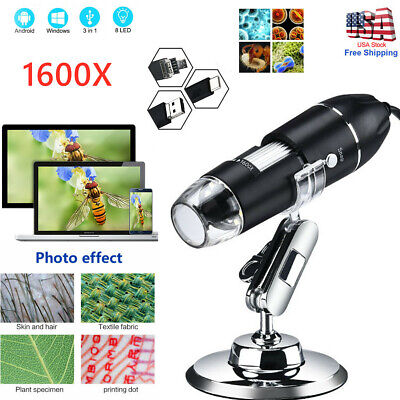 Pro 1600x Zoom 8-led Microscope Digital Magnifier Endoscope Camera Video Wstand