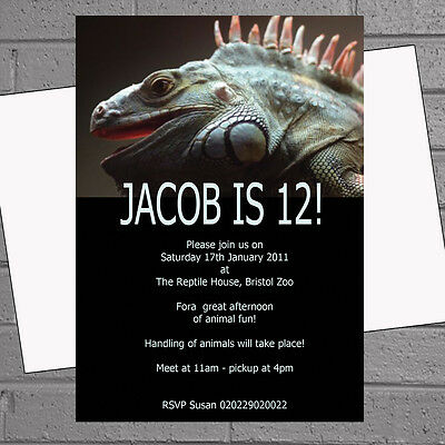Reptile Birthday Party (Personalised Childrens Birthday Party Invitations x 12+envs-Iguana Reptile)