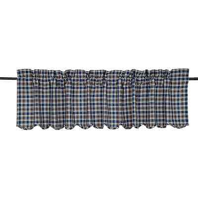 New Primitive Country Cottage Navy Blue Khaki Tan Plaid Valance Window Curtain
