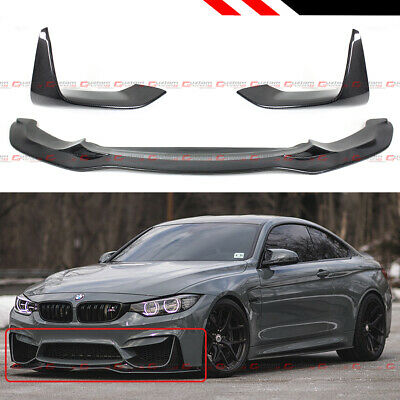 FOR 2015-2020 BMW M3 M4 PSM STYLE CARBON FIBER FRONT BUMPER LIP + SIDE SPLITTERS