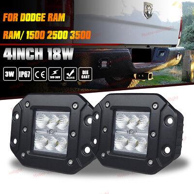 Dodge Ram 1500/2500/3500 Flush Mount Flood Backup Reverse Rear Bumper Led Lights